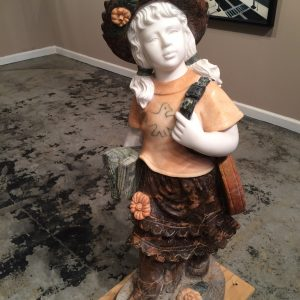 Marble Statue Little Girl with Shoulder Bag