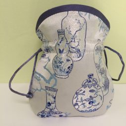 Chinese Embroidered Coin Pouch, Gray, Blue & Purple Trim