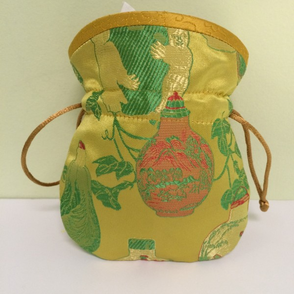 Chinese Embroidered Coin Pouch, Yellow