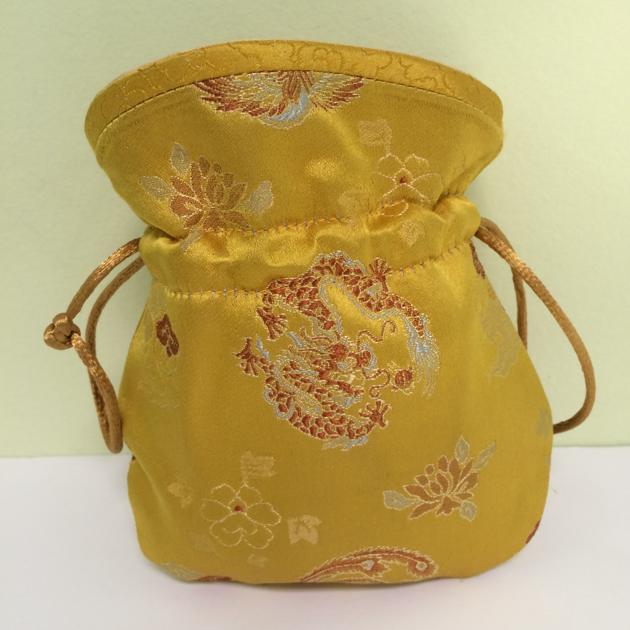 Chinese Embroidered Coin Purse, Gold