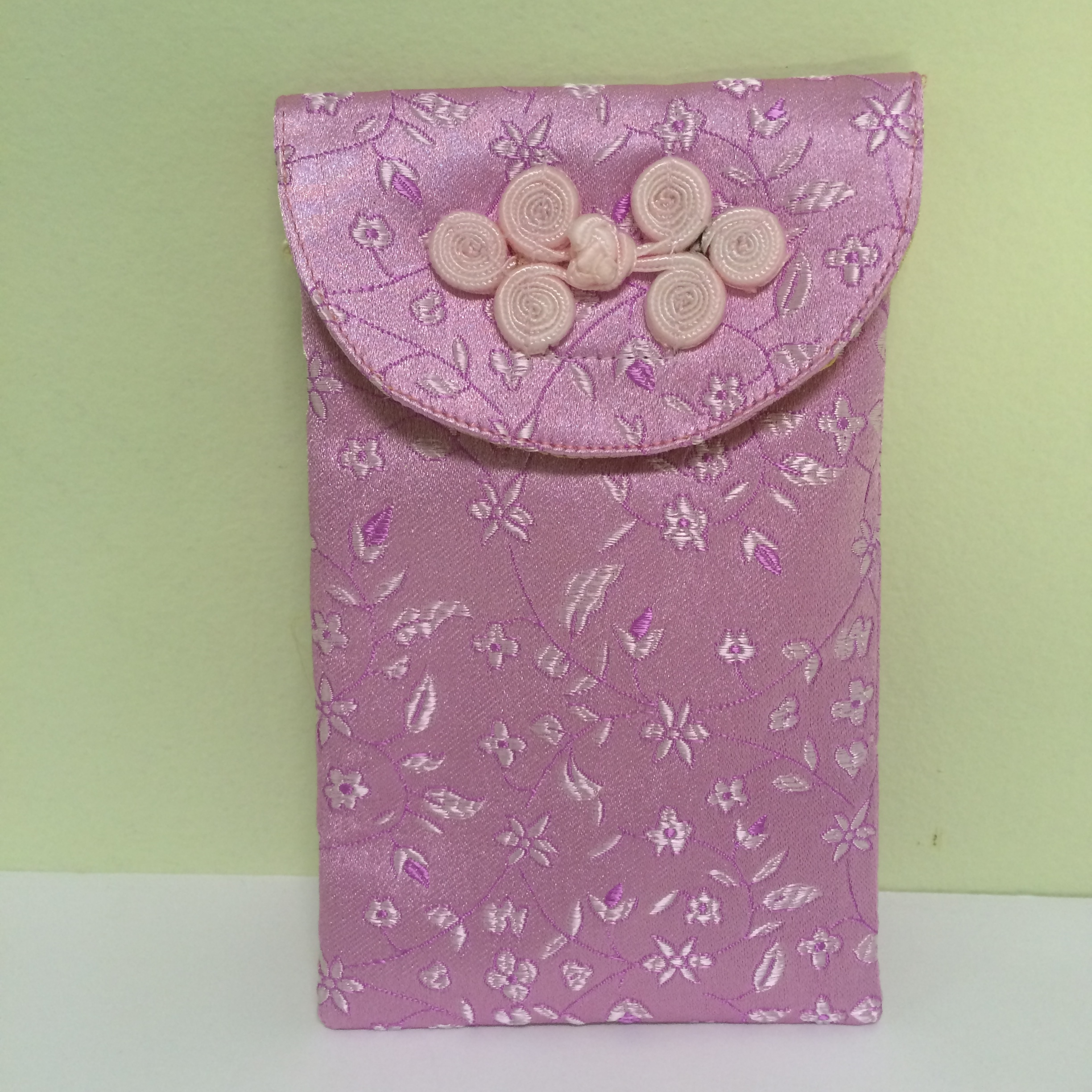 Chinese Cell Phone Pouch, pink embroidery