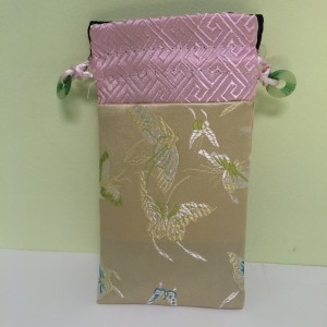 Chinese Cell Phone Pouch with Drawstring, gold & pink embroidered