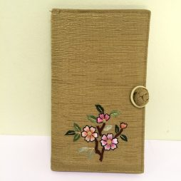 Chinese Hard Tie Clasp Coin Purse, Gold with Pink Flowers
