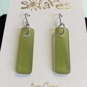 Olive Green Sea Glass Bar Earringss