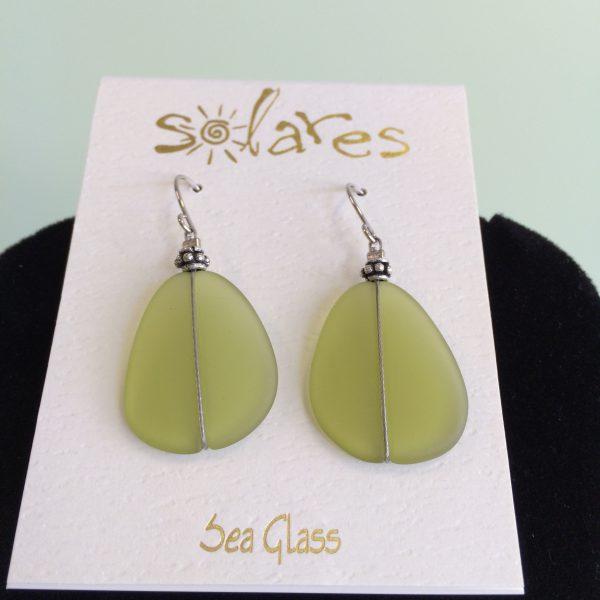Icy Olive Sea Glass Earrings F15