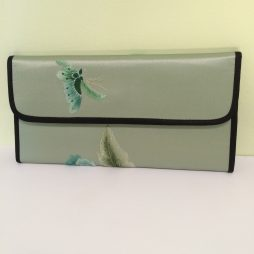 Chinese Silk Snap Wallet, Green with Flower