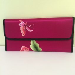 Chinese Snap Wallet, Burgandy with Flowers