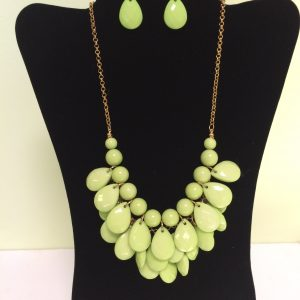 Fashion Necklace & Earring, Lime Green Set 145