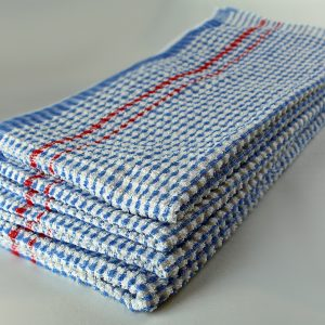 Dish Towel, Blue Check with Red Stripe, 100% Cotton