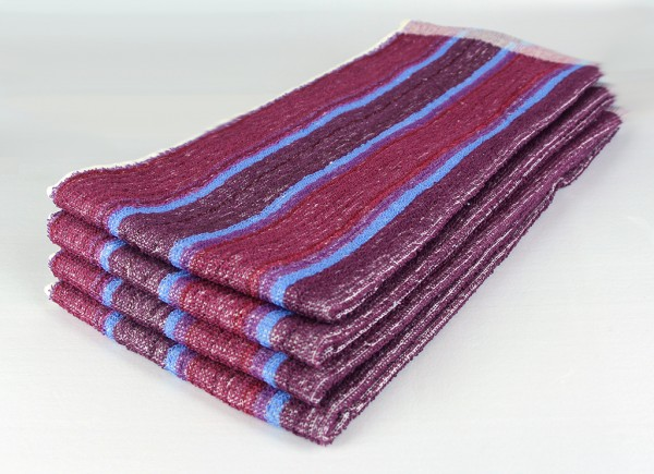 dish towel, burgundy and blue stripe