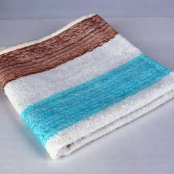 Dish Towel, Brown, Blue and White Stripe