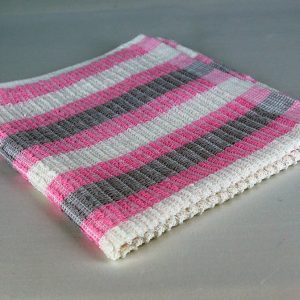 Dish Cloth, Pink, Gray and White