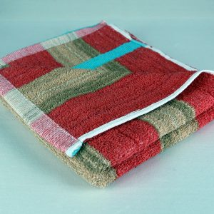 dish towel, red brown and blue