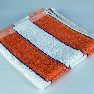 Dish Towel, White with Orange and Purple Stripes