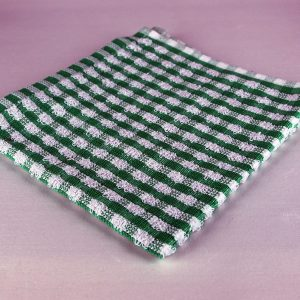 Dish Cloth, Green and White Check