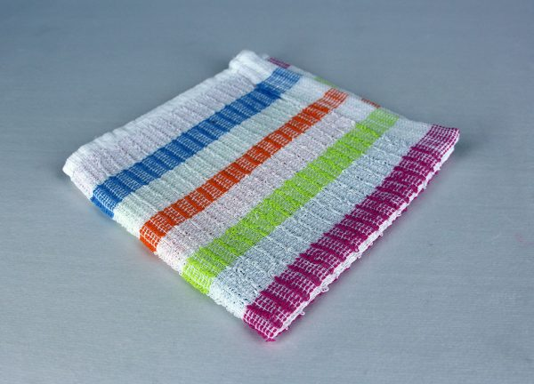 dish cloth, white whith multi stripe