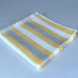 dish cloth, white with gray and yellow stripes
