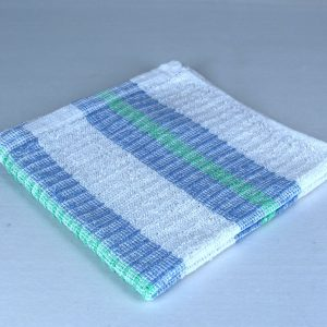 Dish Towel, White with Blue and Green Stripes