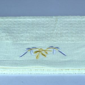 dish towel, yellow with embroidery