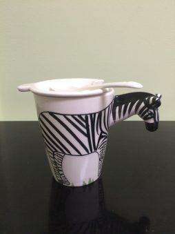 Animal Shape Tea/Coffee Cup with Lid & Spoon, Zebra.