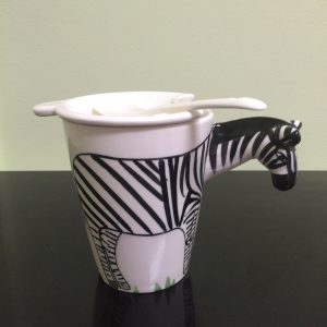 Animal Shape Tea/Coffee Cup with Lid & Spoon, Zebra.