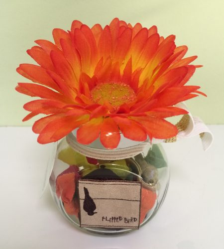 Orange Flower Jar with Fabric Headbands & Hair Ties